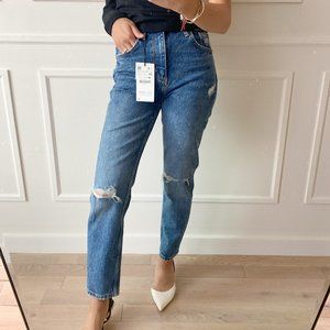 Zara High Waisted Jeans with Distressed Knees - 25